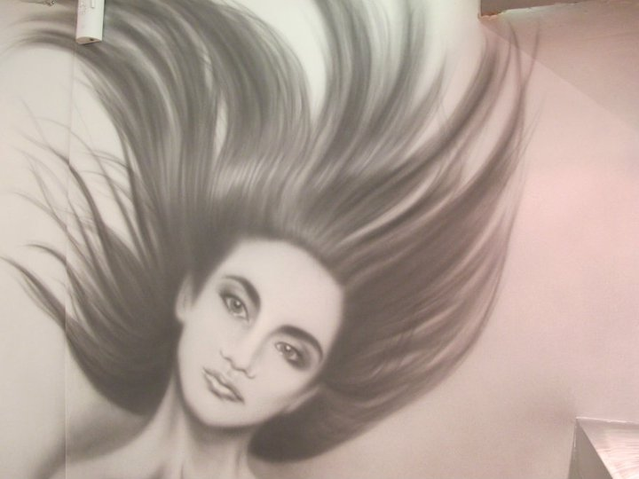 Airbrushed Mural - Hair Salon