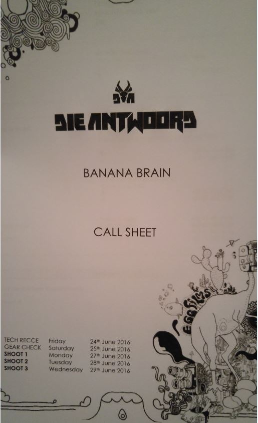 Banana Brain Call Sheet