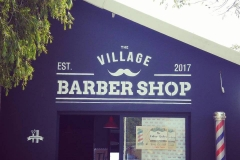 Stencilled Mural - The Village Barbershop